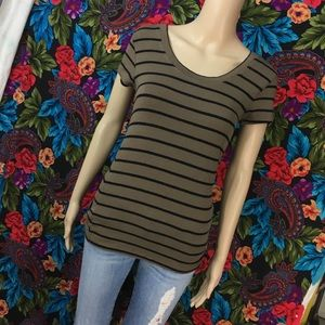 OLIVE GREEN SHIRT BASIC SHORT SLEEVE TOP STRIPED